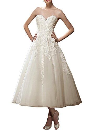 Lafee Bridal Women's Sweetheart Tea Length Wedding Dress A-Line Lace Bridal Gown Ivory Size (A-line Tea Length Gown)