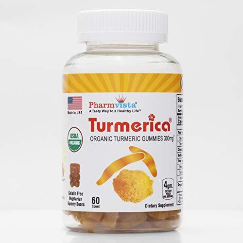 Turmerica - USDA Organic Turmeric Curcumin Gummies 300mg, Anti Inflammatory, Joint Pain Relief, Antioxidants. 100% Vegetarian, Kosher & Halal Certified - 60 Count…