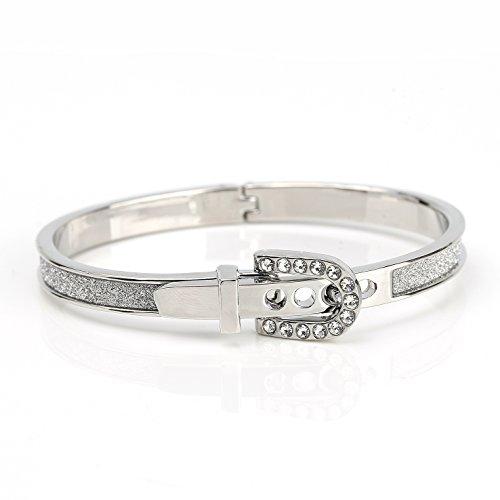 United Elegance - Trendsetting Silver Tone Hinged Bangle Bracelet with Buckle Clasp, Sparkling Swarovski Style Crystals and Shimmering (Swarovski Buckle)