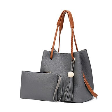 Las mujeres de moda clásica bolsa Crossbody,Gris oscuro Light gray