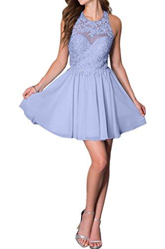 promgirl House Damen Chic blau rosa weiss a-linie Spitze ballkleider Cocktail abendkleider Kurz -  violet - 36