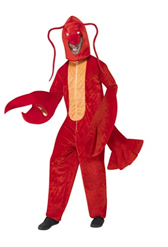 Smiffys Adult Unisex Lobster Costume, All in One and Hood, Party Animals, Serious Fun, One Size, 40091