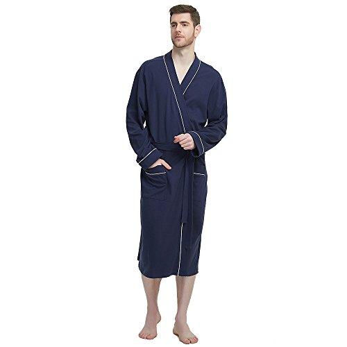 M&M Mymoon Men's Kimono Robe Long Comfy Bathrobe Cotton Loungewear Spa Cloth Robe (Navy Blue, 2XL/3XL) by M&M Mymoon
