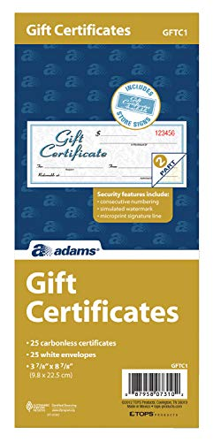 Adams Gift Certificate Book, Carbonless, Single Paper, 3.4 x 8 Inches, White, 2-Part, 25 Numbered Certificates Plus Store Sign - Adams Certificates Gift