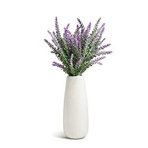 Opps Artificial Lavender Flowers Bouquet with White Ceramic Vase for Home, Party & Wedding Décor 49
