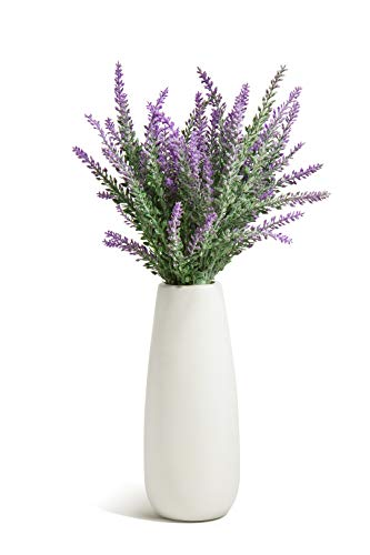 Opps Artificial Lavender Flowers Bouquet with White Ceramic Vase for Home, Party & Wedding Décor - Purple