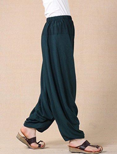 MatchLife Mujer Nuevo Suelta Dobladillo Plain harén pantalones M002-Dark Green(Fit UK 4-18)
