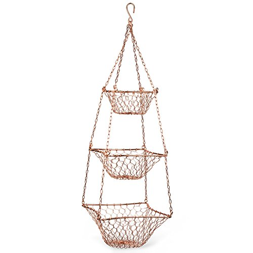 Copper Colored Tiered Metal Basket 'Tiered Hanging Wire Basket'