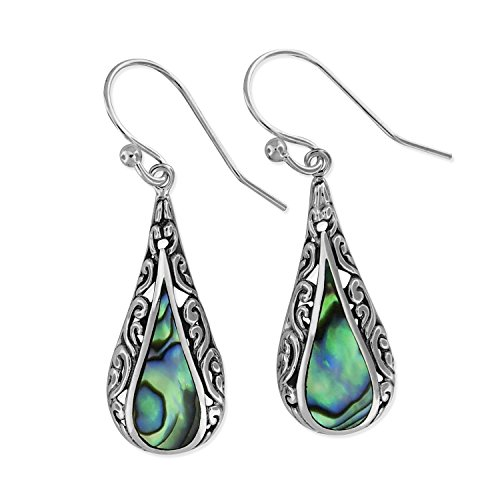 Abalone Shell Silver Sterling (Sterling Silver Abalone Shell Teardrop Filigree Dangle Earrings)