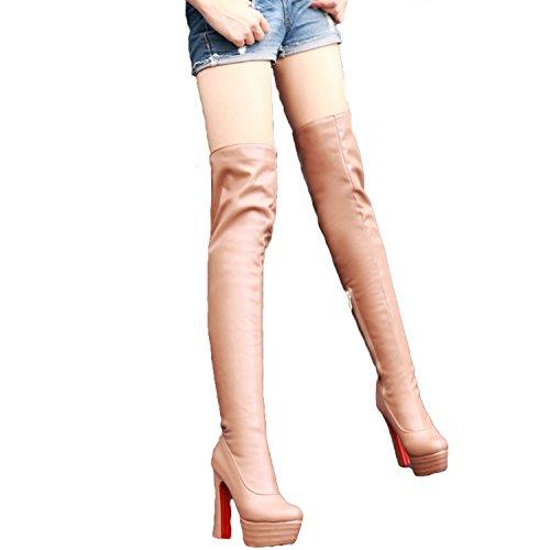 Nonbrand heel platform high quality high thigh Beige length boots shoes Women's rrwTaqf