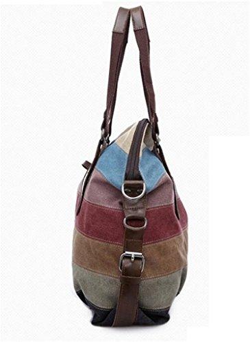 Crossbody Top Canvas Bags Shoulder Vintage Block Stripes Women Handle Stripes C Tote Handbags Hobo Bagtopia Vintage Hq0vx7X