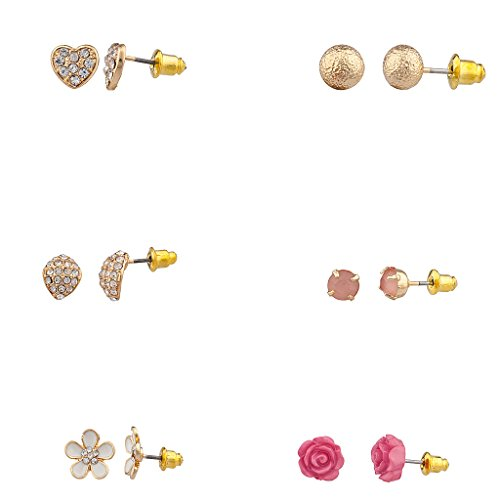[Lux Accessories Romantic Flower Multi Earring Set (6Pc)] (Flower Child Costumes Ideas)