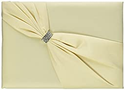 Lillian Rose Satin Rhinestone Guest Book, 8.5-Inch, Ivory