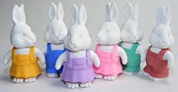 White Rabbit Japanese Erasers. 6 Pack. Assorted Colors. By PencilThings