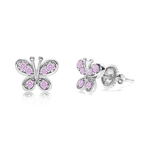 Chanteur Crystal Butterfly Kids Baby Girl Earrings with Swarovski Elements (Pink Crystal Butterfly Screwback Kids Baby Girl Earrings)