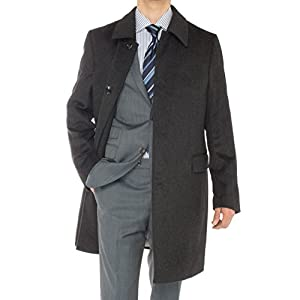 LN LUCIANO NATAZZI Men's Cashmere Topcoat Classic Knee Length Trench Coat Overcoat (44 US - 54 EU,Charcoal Gray)
