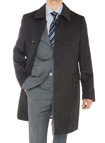Luciano Natazzi Men's Cashmere Topcoat Classic Knee Length Trench Coat Overcoat (40 US - 50 EU, Charcoal Gray) (Wool Breasted Single Suit Worsted)