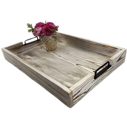 "Bel Canto Market Large Rustic Ottoman Tray/Coffee Table/Centerpiece Tray - 20"" x 14"" Whitewashed Real Wood Multi-Purpose Serving Tray - Packaged in Glossy White Gift Box"