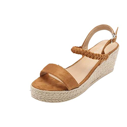 - chengzhijianzhu Womens Sandals Wedges with Straw Weave Platforms Open Toe Buckle Strap Flat High Heel Slippers Shoes Brown