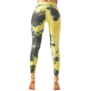Women's Booty Yoga Pants High Waisted Leggings Butt Lift Leggings for Gym Workout Running, Yellow - S