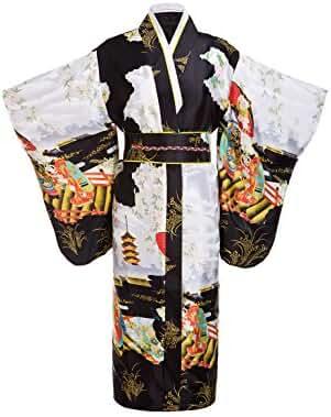 Yukata Women's Gorgeous Japanese Traditional Satin Kimono Robe