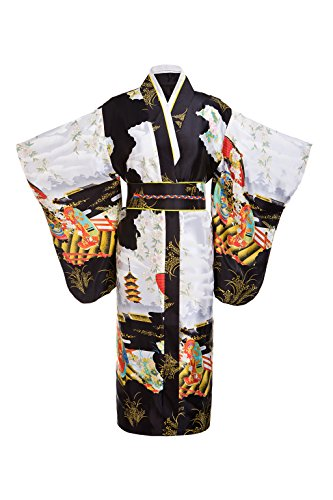 Yukata Women's Gorgeous Japanese Traditional Geisha Kimono Robe, Black
