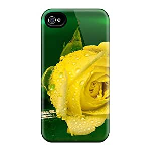 Fashion Protective Yellow Rose With Drops Cases Covers For Iphone 6plus Black Friday
