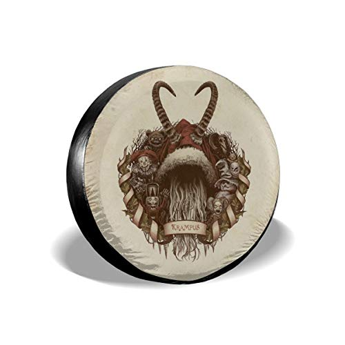 2009 Nutcracker Ornament - Yule Goat Merry Christmas Krampus Nutcracker Spare Tire Cover Rear Car Decorations Holiday Ornament Wheel Accessories Decor Protector 14 15 16 17 Inch for Jeep Trailers RV SUV Trucks Offroad Parts
