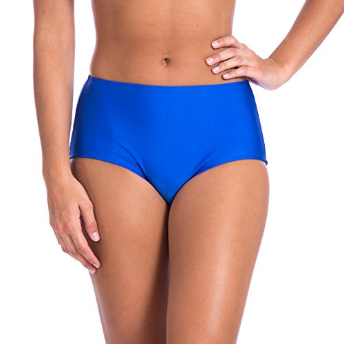 Women's High Waist Solid Ramba Sports Bikini Swimsuit by Gary Majdell (3X, Royal Blue)