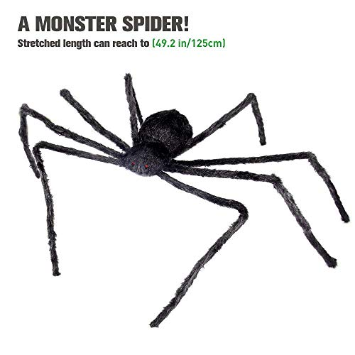 Geekper Giant Halloween Spider 49.2inch with Red Eyes Spooky Sound Foldable Legs Halloween Decoration