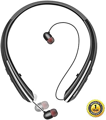 101b50d4b0b Bluetooth Headphones, Doltech Wireless Neckband Headset with Retractable  Earbuds, Sports Noise Cancelling Stereo Earphones
