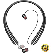 Bluetooth Headphones, Doltech Wireless Neckband Headset with Retractable Earbuds, Sports Noise Cancelling Stereo Earphones with Mic (12 Hrs Playtime,Call Vibrate Alert)