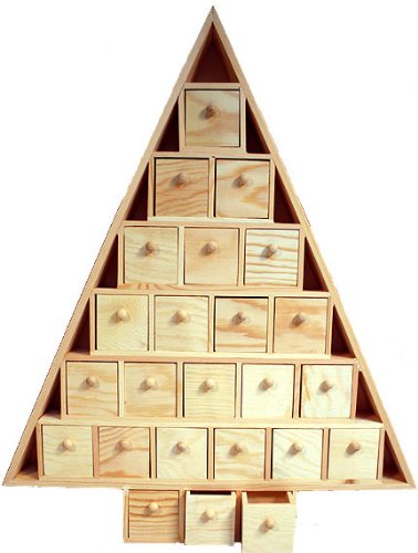 Wood Advent Tree Featuring 24 Removable Box Drawers -Ready to Paint Unfinished by nicole