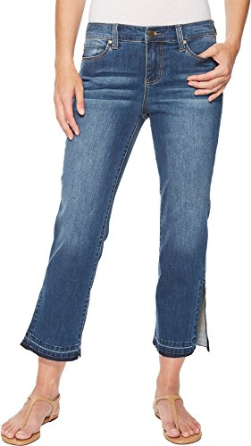 Liverpool Women's Tabitha Straight Crop with Ankle Slits in Vintage Super Comfort Stretch Denim in Montauk Mid Blue Montauk Mid Blue 6 26