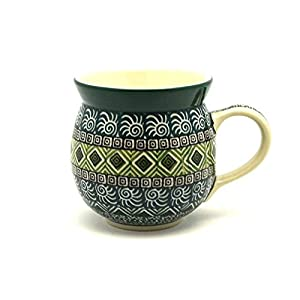 Polish Pottery Mug – 11 oz. Bubble – Aztec Forest