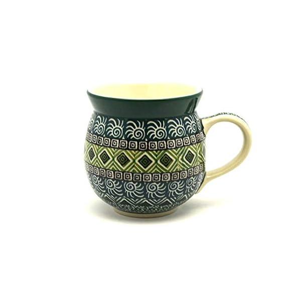 Polish Pottery Mug – 11 oz. Bubble – Aztec Forest