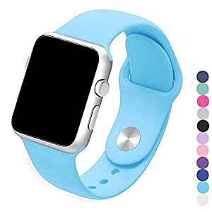 Piwjo Silicone Apple Watch Band and Replacement Iwatch Bands Series 1,Series 2,Series 3 (38mm S/M, Blue)