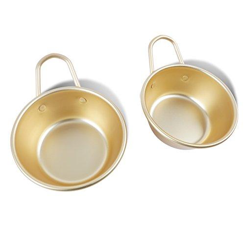 Aluminum Yellow Korean Traditional Bowls for Makgeolli(Korean Raw Rice Wine) 2PCS, Made in Korea