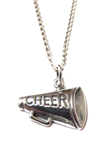 Sterling Silver Cheer Megaphone Charm, Necklace 18