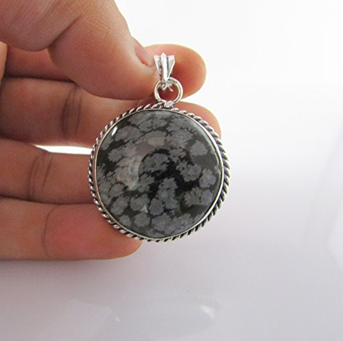 Natural Snowflake Obsidian German Silver Handmade Pendant 30mm – 1 Piece