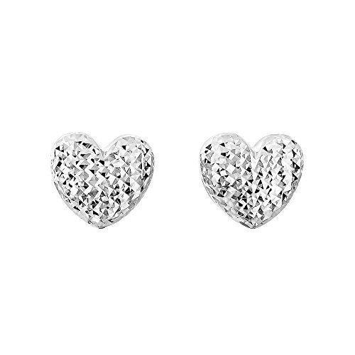 Or blanc 14 carats brillant + Diamant 11 x 10.6 mm Puff H Eart Fancy Post Boucles d'oreilles