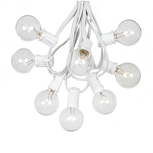 G40 Patio String Lights With 25 Clear Globe Bulbs - Hanging Garden String Lights - Vintage Backyard Patio Lights - Outdoor String Lights - Market Cafe String Lights - White (Clear Globe String Lights)