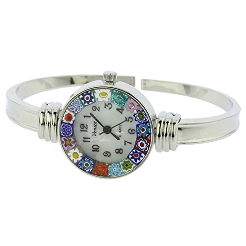 GlassOfVenice Murano Glass Millefiori Bangle Watch - Silver