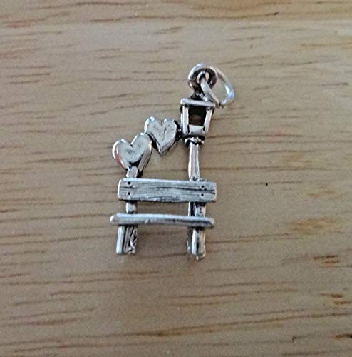 - Sterling Silver 23x12mm Park Bench with Hearts & Lamp Post Charm