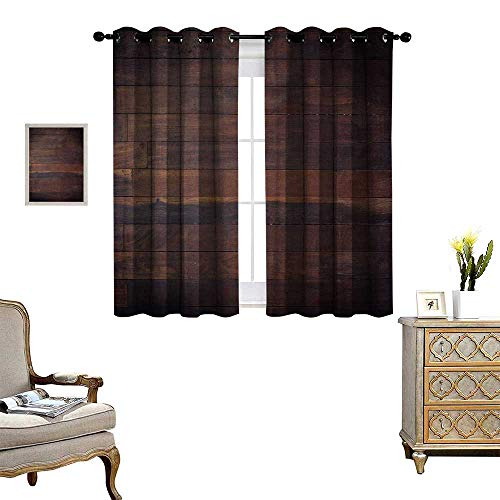 e Waterproof Window Curtain Aged Weathered Dark Timber Oak Wooden Planks Floor Image Country Life Carpentry Blackout Draperies for Bedroom W63 x L63 Dark Brown ()