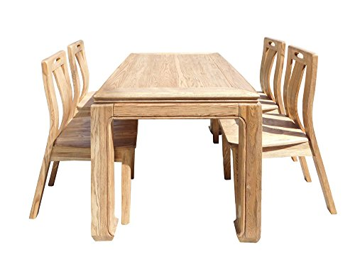 Oriental Light Wood Dining Table 4 Chairs Set Acs1555