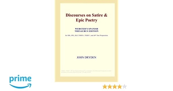 Discourses On Satire Epic Poetry Webster S Spanish Thesaurus