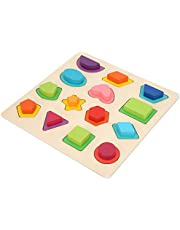 Wooden Puzzle Toy, Non‑toxic Puzzle Toy, Durable Materials Delicate for Kids Toddlers(QZM-shape matching recognition board)