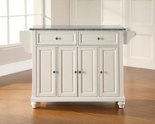 (Crosley Furniture Cambridge Kitchen Island with Solid Grey Granite Top - White )