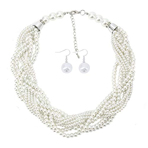 Utop Simulated Pearl Choker Necklace for Women Bridal Wedding Pearl Statement Necklace (Ivory)
